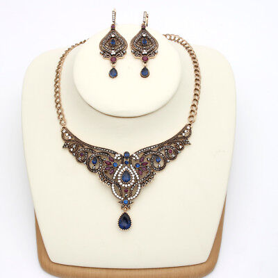 Vintage Style Turkish Necklace Earring Set Antique Gold Plated Crystals