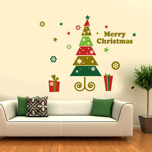 Merry Christmas tree Gift wall stickers Decal Windows Shop stickers Removable UK