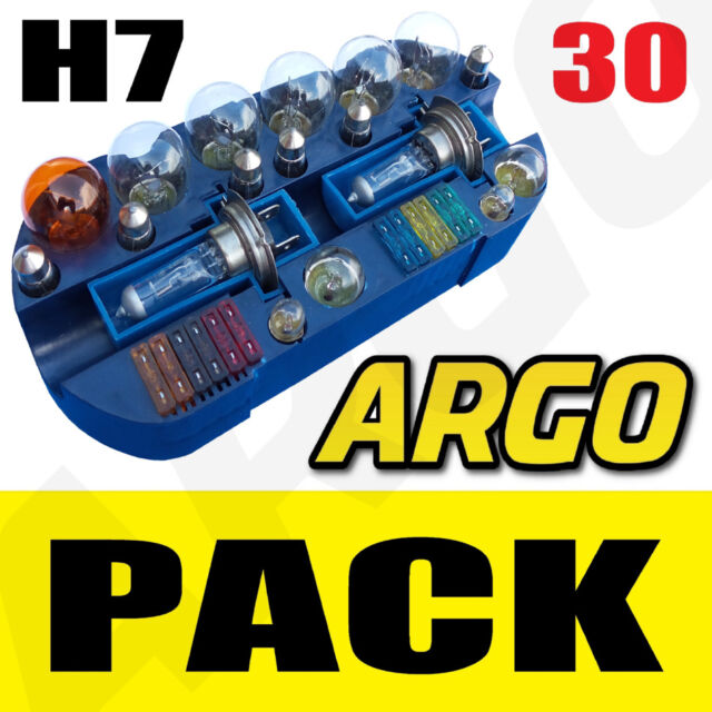 UNIVERSAL 30 PIECE CAR VEHICLE EMERGENCY BULB FUSE SPARES H7 AUTO KIT SET 55W