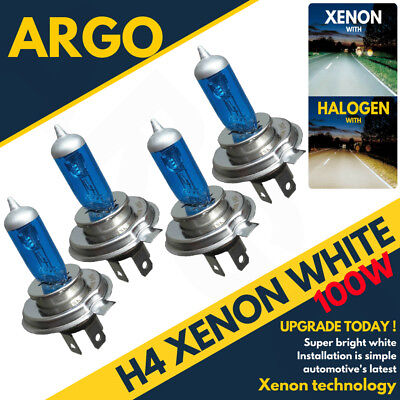 4 X H4 100w 472 Rally Off Road Xenon Hid White Headlight Head Light Bulbs Sport