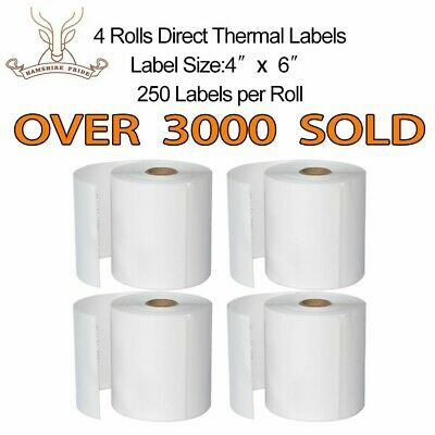 Hampshire Pride 4 Rolls 4x6 Direct Thermal Shipping Label 250 Per Roll Zebra