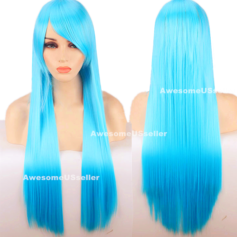 80cm Long Straight Women Cosplay Costume Party Hair Anime Wigs Full Hair Wig Blue