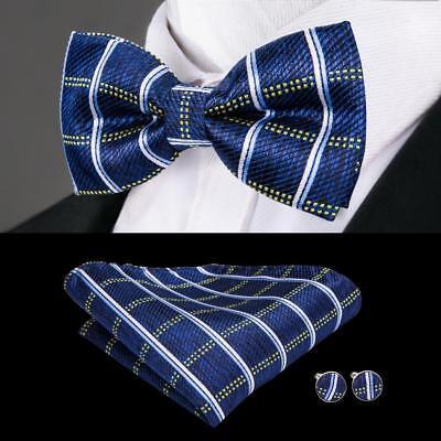 USA Blue Plaida&Checks Classic Silk Mens Bow Tie Cufflinks Pocket Square LH-763 Blue Mens Bow Tie