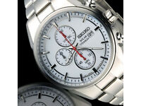 New Boxed Seiko Chronograph Solar Sport Mens Watch Silver Titanium Case and Bracelet 2year guarantee
