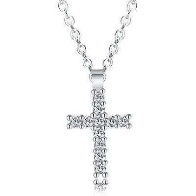 925 Silver Cubic Zirconia Cross Crucifix Pendant Necklace Jewelry Women Girls ()
