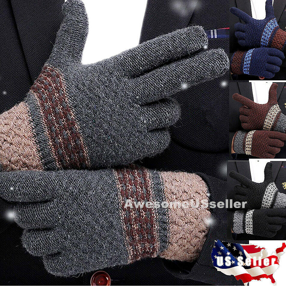 Men Women Winter Snow Gloves Windproof Warm Thick Knit Therm