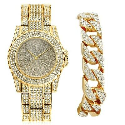 "Mens Hip Hop 9"" Bling watch & 9"" Iced Out Bracelet Men's Jewelry Gold Jewellery"