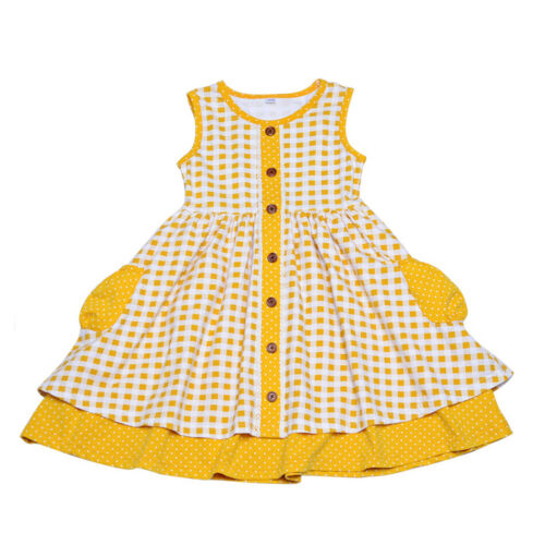 Girls twirling frock button down organic cotton kids clothes girls
