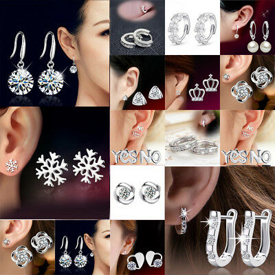 925 Sterling Silver Crystal Stud Round Earrings Wedding Jewelry Womens Gift