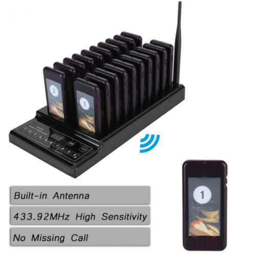Restaurant Calling Queuing System 999 Channel Pager 1 Transmitter+20 Receivers