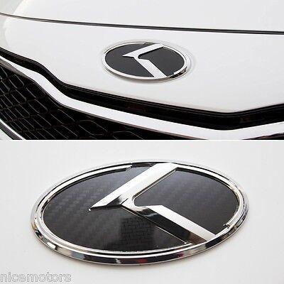 K Logo Carbon Black Front 3D Emblem 1EA For KIA RIO 2012 2013 2014 2015
