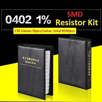 8500pcs 0402 Smdsmt 1 Resistor Samples Book Assorted Kit Component 170 Values