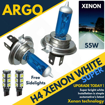 H4 Xenon White 55w Dipped Low Beam Headlight Headlamp 501 Led Sidelight Bulbs X2