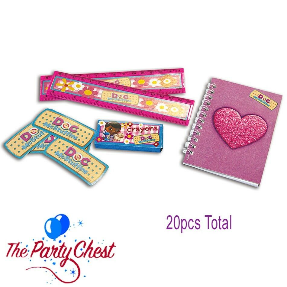 20 DOC McSTUFFINS STATIONERY PARTY FAVOURS Notepads Crayons