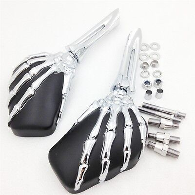 Skeleton Skull Hand Claw Shadow Rearview Motorcycle Side Mirror 8mm 10mm CD+BK
