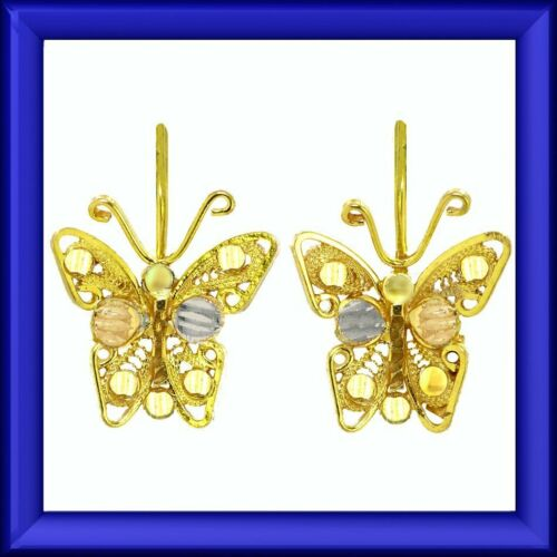 SALE Small charming estate filigree butterfly earrings in tricolor gold M-F
