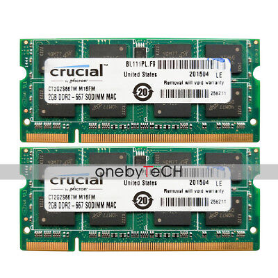 4GB 2x2GB PC2-5300S DDR2 667 CL5 For Mac mini A1176 MB138LL/A MB139LL/A Mid-2007 for sale  Shipping to Canada