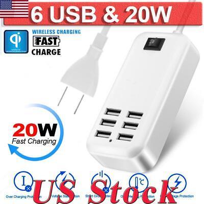 6-Port USB Desktop Multi-Device Fast Charging Station Hub Adapter Socket US Plug Usb Multi Plug