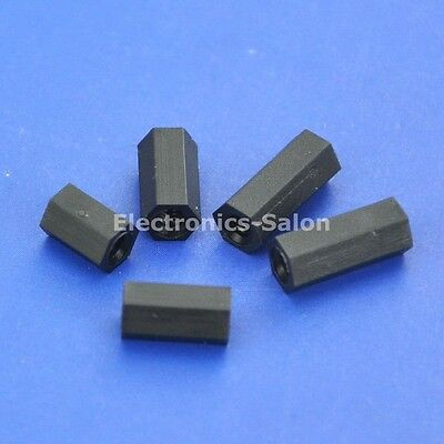 M2 Black Nylon Hex Female-Female Standoff Spacer, 6mm 8mm 10mm 12mm, Hexagonal.