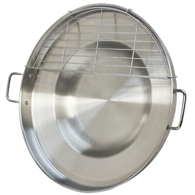 Heavy Duty 23 Stainless Steel Concave Comal Frying Pan Wok Grill Griddle Rack