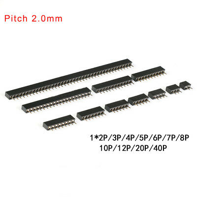2.0mm Single Row Female Straight Pin Header Socket 1x 234567810p-2040p