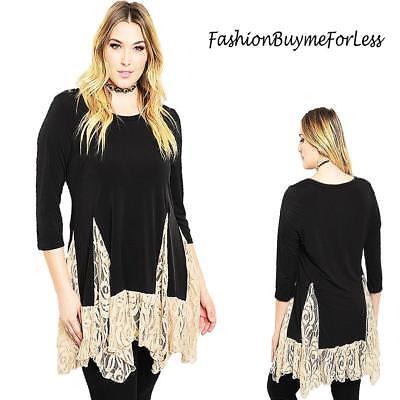 PLUS Size BOHO Black Gothic Steampunk Lace Trim - Plus Size Bluse Pirat