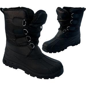 MENS-BLACK-SNOW-BOOTS-WATERPROOF-MUCKER-THERMAL-WELLINGTONS-FUR-SKI-WINTER-BOYS