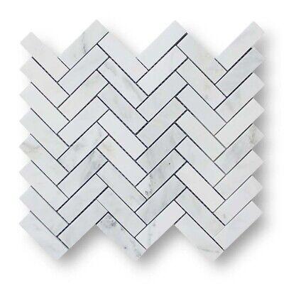 Bianco Carrara Marble Herringbone Mosaic Tiles - Kitchen/Bathroom/Floor/Wall