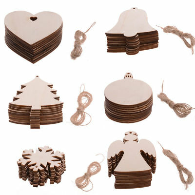 10Pc Christmas Decorations Tree Wooden Heart Shapes Blank Painting Craft Hanging ()