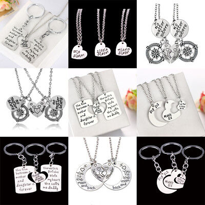 Gifts For Mother Father Sister Keychains Set Best Friend Necklace Keyring Family