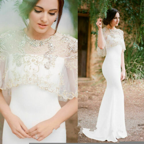 Luxury Rhinestone Bolero Wedding Jacket Lace Crystal Topper White Ivory Plus New