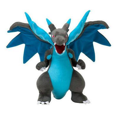 Pokemon Center 12Inch Dragon Mega Charizard X Plush Doll Toy Blue Gift US Ship