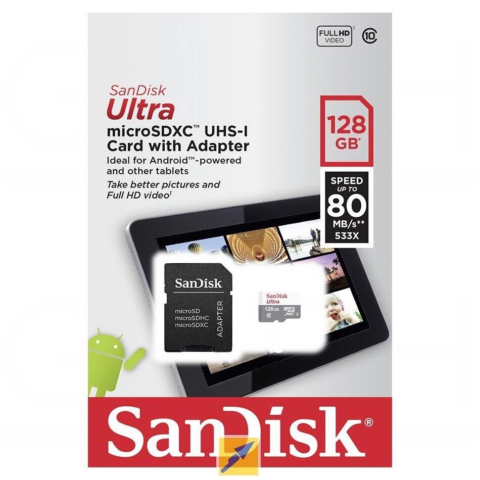 SANDISK Ultra Micro-SDXC USH-I Speicherkarte 128GB 80MB/s NEU SDSQUNS 128 GB