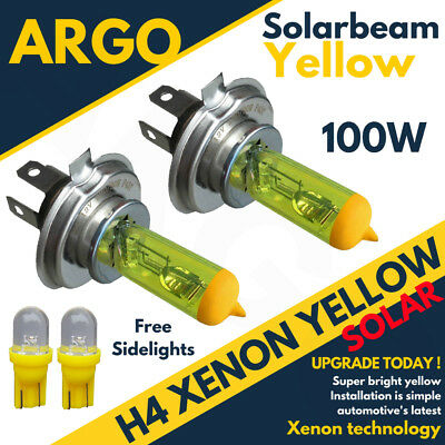 2x H4 Xenon Yellow 100w Front Dipped Beam Headlight Headlamp 501 Sidelight Bulbs