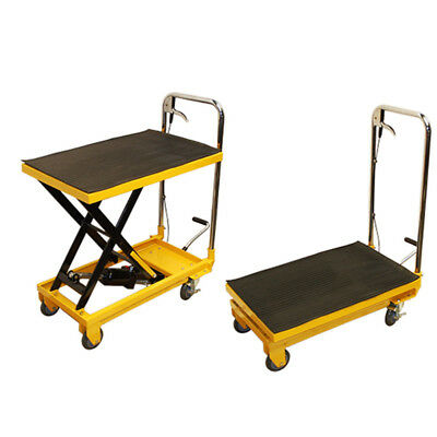 Portable 330 Lb Hydraulic Scissor Table Lift 9 To 28 Jack Cart Truck Mobile