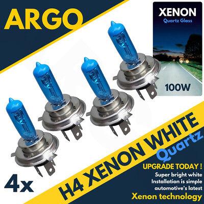 100w 4 X Super White H4 Xenon Bulbs Headlight 12v High 8500k Bright Color Light