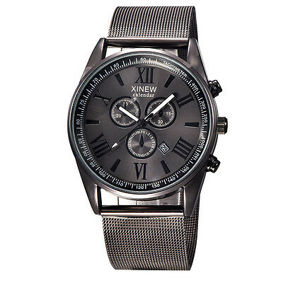 Mens Fashion Luxury Watch Stainless Steel Date Sport Analog Quartz Wristwatches