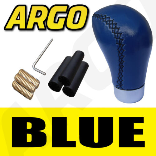 BLUE LEATHER GEAR SHIFT KNOB STICK MANUAL SHIFTER SELECTOR LEVER CHANGE VEHICLE