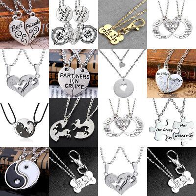 2PCS Heart Necklace Pendant Couples Best Friend Puzzle Lover Gifts Friendship
