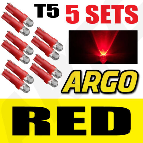5 X SETS T5 286 LED ULTRA RED DASHBOARD LIGHT BULBS XENON 12V LAMP DIALS CAR