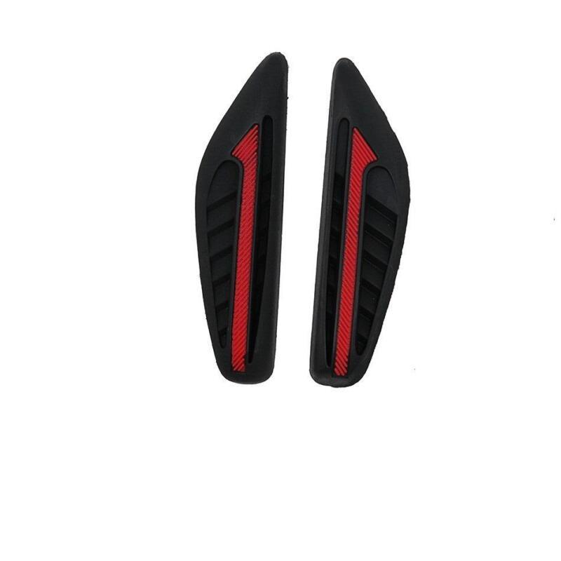 2 x Black Rubber Door Mirror Guard Protectors RED Insert (DG2) MC17/10