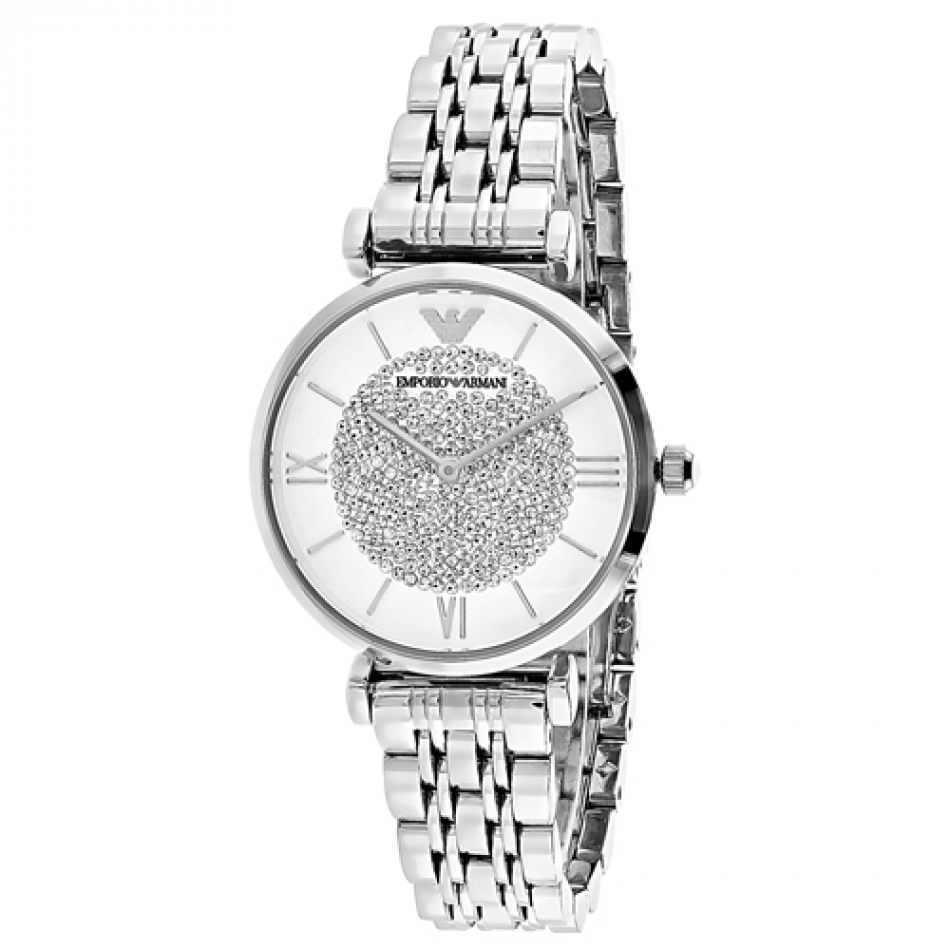 Armani Damen Ar1925 Gianni T-Bar Uhr Silber Kristall Ziffernblatt, COA