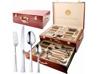 LUXURY NEW PRIMA 95 PIECE CANTEEN OF CUTTLERY IN WOODEN CASE NEW