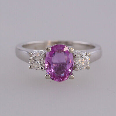 Pink Sapphire and Diamond Three Ring 14ct White Gold
