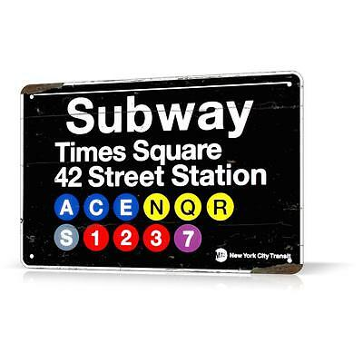 METAL SIGN NEW YORK SUBWAY Times Square Manhattan NY Decor Home Wall Garage