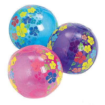 12 MINI BEACH BALLS HIBISCUS LUAU POOL BIRTHDAY party favors decorations