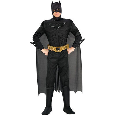 Dark Knight Halloween Costume (DELUXE BATMAN DARK KNIGHT Adult Costume Men's Fancy Dress Halloween Rubies)