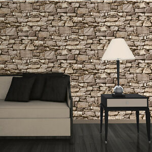 Dry stone wall sand wallpaper 3d effect design by muriva for 3d effect wallpaper uk