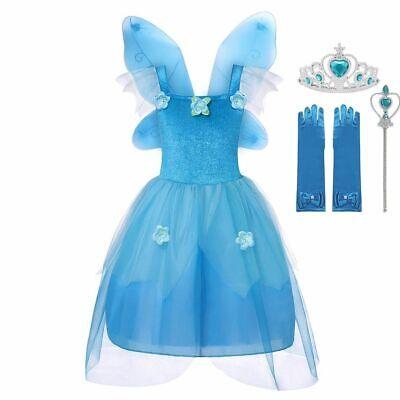 Girls Fairy Tale Princess Costume Sleeveless Party Dress Up With Wings (Fairy Princess Dress Up Kostüm)