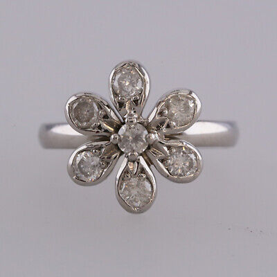 0.49 Carat Diamond Flower Ring 18ct White Gold Size J